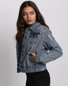 Brave Soul Denim Jacket Mid Wash Blue