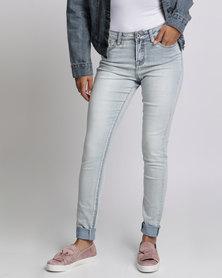 Brave Soul Vintage Wash Skinny Jeans Light Blue