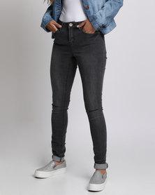 Brave Soul Vintage Wash Skinny Jeans Charcoal