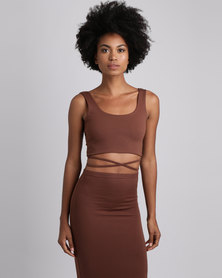 Brett Robson Kwezi Crop Top With Binding Ties At The Side Choc