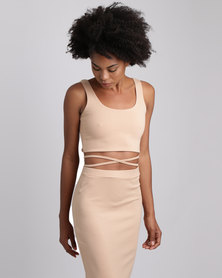 Brett Robson Kwezi Crop Top With Binding Ties At The Side Nude