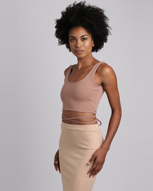 Brett Robson Kwezi Crop Top With Binding Ties At The Side Toffee