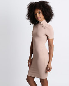 Brett Robson Ava Ribbed Turtleneck Dress Nude