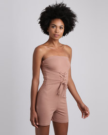 Brett Robson Tiffany Boobtube Playsuit With  Lace Up Detail Toffee