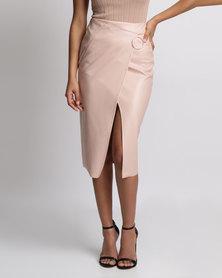 Brett Robson Olivia Faux Wrap Skirt Nude