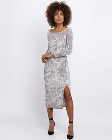 Brett Robson Gigi Off-Shoulder Dress Silver
