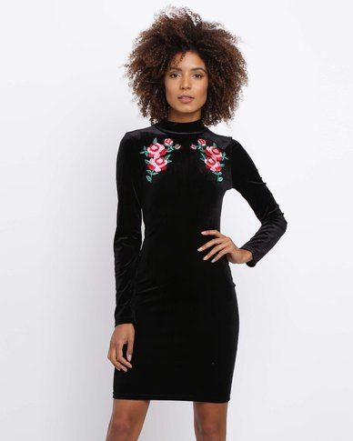 Brett Robson Bella Turtleneck Bodycon With Rose Embroidery Black