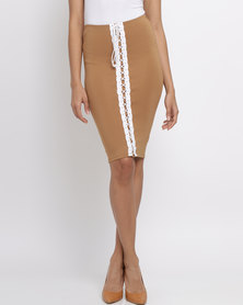 Brett Robson Amber Skirt With Lace Up Detail Camel