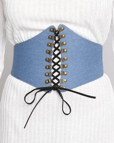Brett Robson Press Studs & Elastic Waist Belt Blue