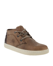 Bronx Men Subway Casual Lace Up Sneaker Limestone/Brown
