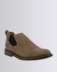 Bronx Men Jump Leather Casual Slip On Ankle Boots Oatmeal