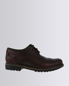Bronx Men Sasso Leather Casual Lace Up Shoe Red Brown
