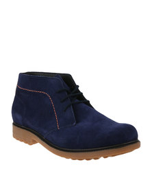 Bronx Men Street Peacoat Casual Lace Up Boots Blue