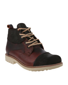 Bronx Men Sasso Casual Lace-Up Boots Red/Brown