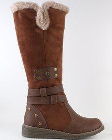 Bronx Woman Gift Knee High Flat Boot Tan