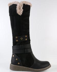 Bronx Woman Gift Knee High Flat Boot Black
