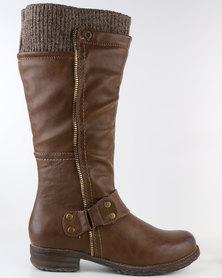 Bronx Woman Rayne Knee High Flat Boot Brown