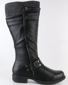 Bronx Woman Rayne Knee High Flat Boot Black