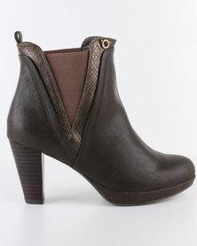 Bronx Woman Yamka Gusset Heel Boot Choc