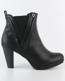 Bronx Women Yamka Gusset Heel Boot Black