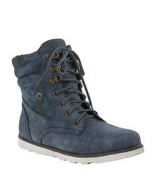 Bronx Women Nuval Lace Up Flat Boot Navy *Exclusive Online