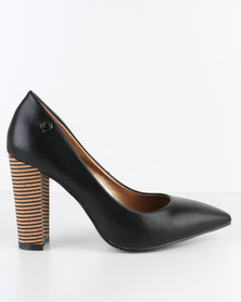 Bronx Woman Yeti Stack Heel Court Shoe Black