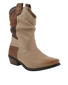 Bronx Woman Ripley Combo Western Flat Boot Brown