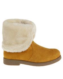 Bronx Woman Reina Flat Fur Lined Boots Tan