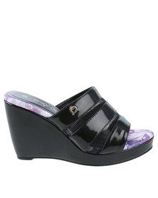 Bronx Woman Emmet Slip On Wedge Sandal Black