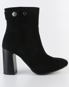 Bronx Women React Block Heel Ankle Boot Black