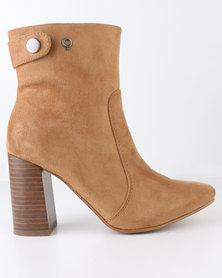 Bronx Women React Block Heel Ankle Boot Tan