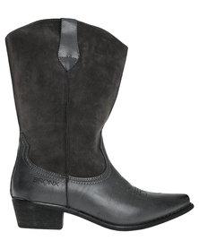 Bronx Woman Raja Flat Wester Mid Calf Boot Grey *Exclusive Online