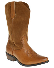 Bronx Woman Raja Flat Wester Mid Calf Boot Tan *Exclusive Online