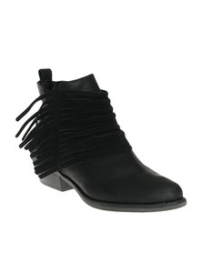 Bronx Woman Page Ankle Boots With Fringe Detail Black *Exclusive Online