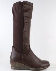 Bronx Woman Rae Mid Calf Flat Boot Choc