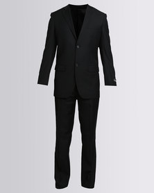 Brooksfield 2 Button Suit With Flat Iron Front Unfinished Trousers Black