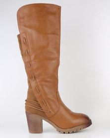 Bucco Block Heel Knee High Boot Cognac