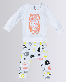 Bugsy Boo Little Printed Owl Baby Set White
