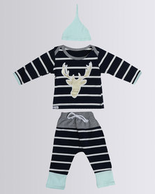 Bugsy Boo Baby Reindeer Set Navy