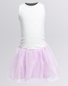 Bugsy Boo Top & Tulle Set Pink/White