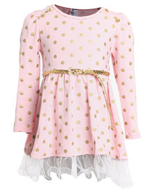 Bugsy Boo Spotty Tulle Top Pink & Gold