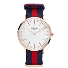 Burano Italy San Martino Watch Rose Gold Casing & Blue and Red Strap