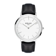 Burano Italy Tiepolo Watch Silver Face Black Leather Strap