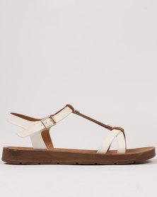 Butterfly Feet Copen Flat Sandal White