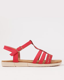 Butterfly Feet Bianca Flat Sandal Red