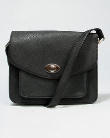 Call It Spring Fiarwen Crossbody Bag With Fake Turn Lock Feature Black