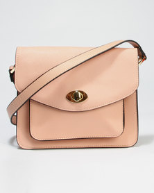 Call It Spring Fiarwen Crossbody Bag With Fake Turn Lock Feature Peach