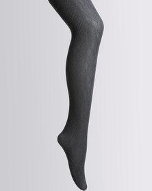 Cameo Tartan Design Tights Black
