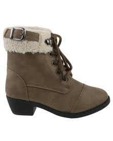 Candy Girls Lace Up Boots Taupe