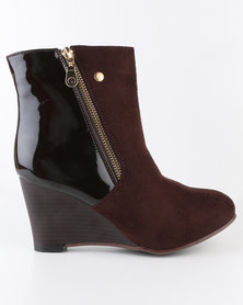 Carlo Bossi Wedge Ankle Boot With Side Zip Choc